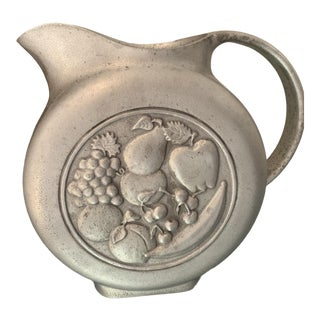 1960s Boho Chic Wilton Armetale Pewter 2 Quart Fruit Disc Water Pitcher For Sale