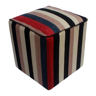 Arshs Donn Black/Ivory Kilim Upholstered Handmade Ottoman For Sale