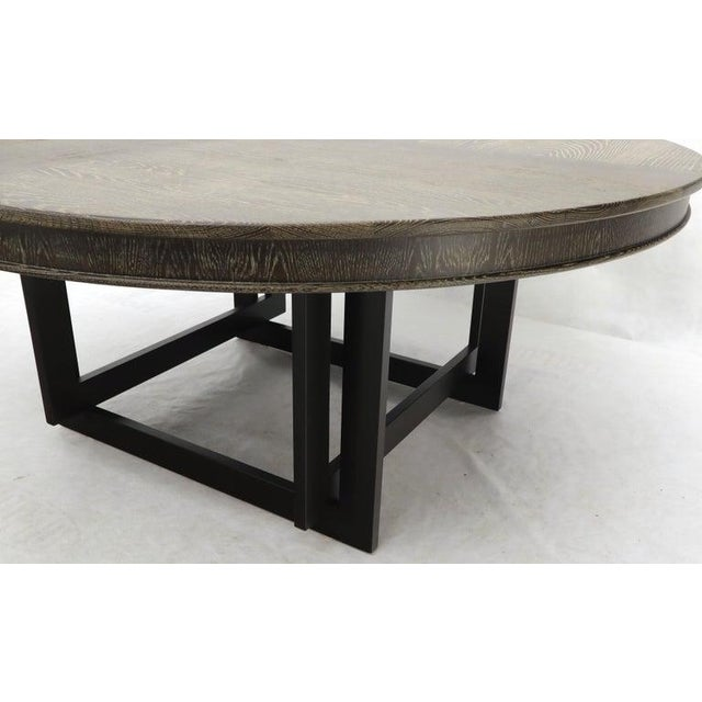 Large Oversize in Diameter Round Cerused Limed Oak Dining Table For Sale - Image 10 of 13