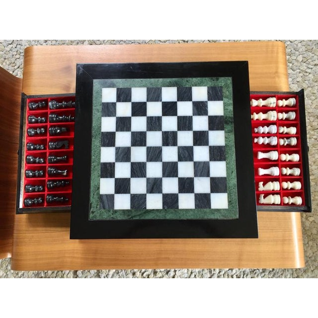 1960s Vintage 70's Black Lacquer Box With Drawers and Inlay Marble Chess Board For Sale - Image 5 of 11