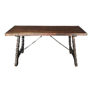 Spanish Walnut Table With Original Metalwork Supports For Sale