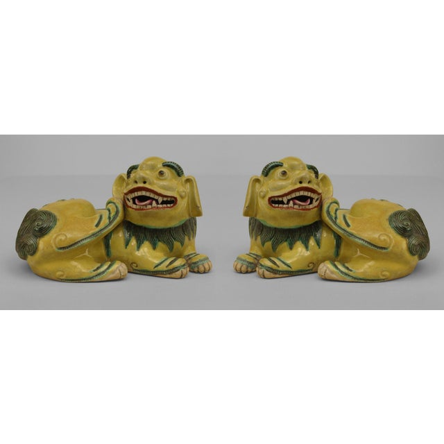 Asian Chinese Green and Yellow Small Porcelain Reclining Foo Dog Figures- A Pair For Sale - Image 4 of 4