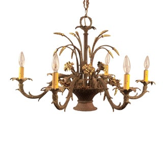 1910s French Belle Epoque Patinated Bronze Chandelier For Sale