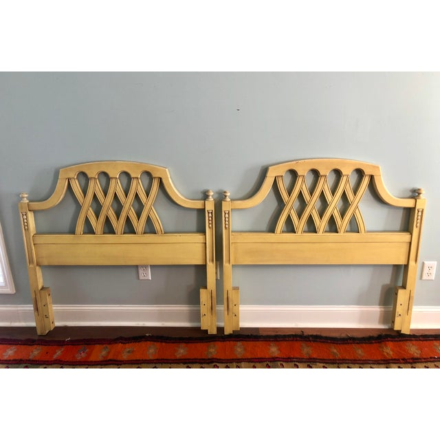 Mid-Century Yellow Lattice Chippendale Twin Headboards- a Pair For Sale - Image 10 of 10