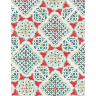 Ferran Ming Medallion Fabric, Sample, Red in Linen/Cotton For Sale