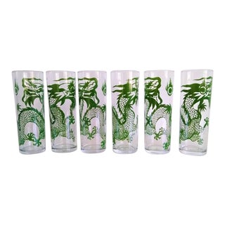 Tall Vintage Mid-Century Glasses With Dragon Motif - Set of 6 For Sale