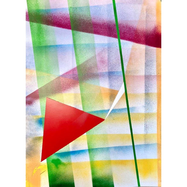 Focus Prism an original abstract painting by Erik Sulander on paper 22x28, signed, unframed