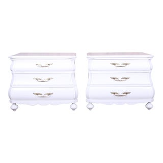Italian White Lacquered Bombay Bedside Chests, Newly Refinished For Sale
