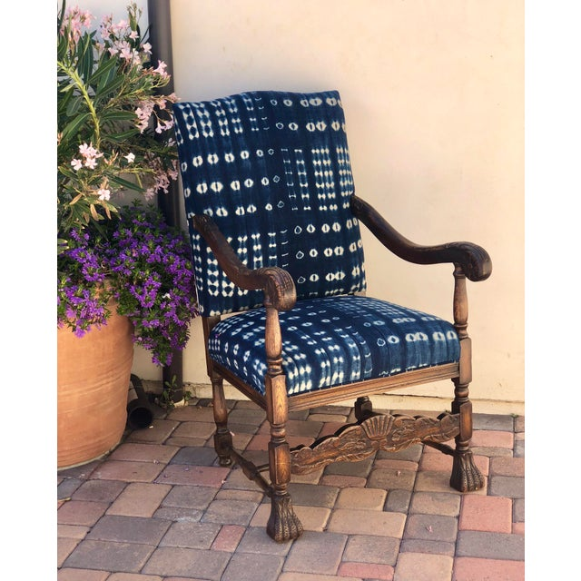 19th Century French Oak Carved Armchair W/ Mali Indigo Textile For Sale - Image 12 of 13
