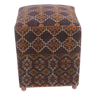 Teddy Brown/Blue Antique Kilim Upholstered Handmade Ottoman For Sale