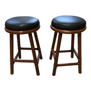 McGuire Bamboo + Leather 0351 Counter Height Stools For Sale