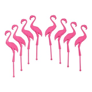 Flamingo Swizzle Sticks & Cocktail Party Picks - Set of 8 For Sale