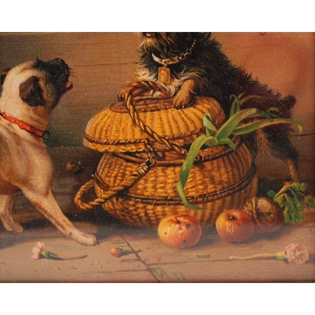 Antique Watercolor Painting of Dogs