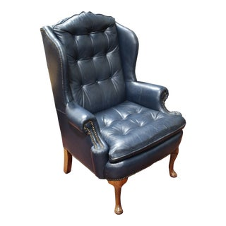 1950s Vintage Hickory Nc Blue Leather Wing Chair For Sale
