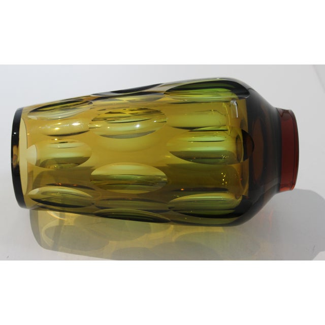 Mid-Century Modern Mid-Century Modern Swedish Vase With Optic Ovals - Smokey Olive Green For Sale - Image 3 of 12