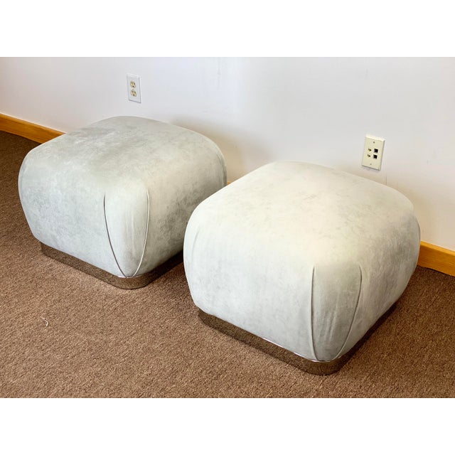 Mid-Century Modern 1980s Weiman Reupholstered Souffle Poufs - a Pair For Sale - Image 3 of 8
