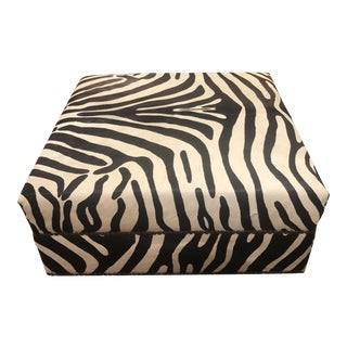 African Style Zebra Print Upholstered Ottoman For Sale