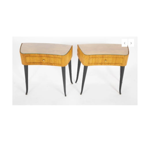A striking pair of reeded side tables/ bedside tables. Italian beech with ebonized legs and optional fitted glass tops....