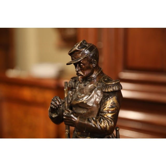 """Bronze 19th Century French Patinated Bronze Sculpture """"La Halte"""" Signed L. Mennessier For Sale - Image 7 of 10"""