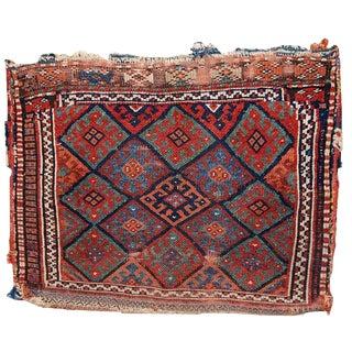 1880s, Handmade Antique Collectible Persian Kurdish Bag 1.8' X 2.4' For Sale