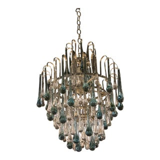 1940s French Crystal Drops Light Fixture For Sale