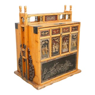 Antique 19th C. Chinese Elm Handcarved Dowry Chest For Sale