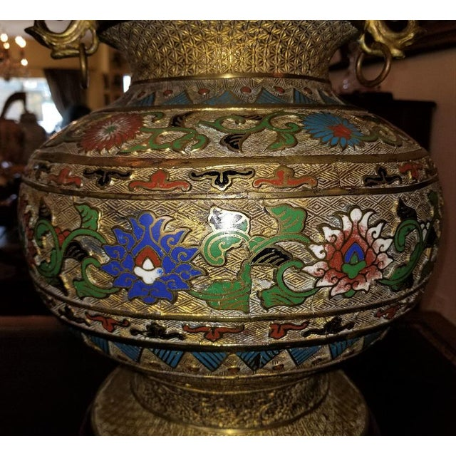 Large Oriental Champleve Cloisonne Urn on Stand For Sale - Image 4 of 13