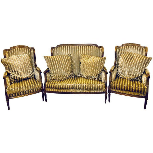 Large Jansen Style Louis XVI Living Room Suite Couch and Two Lounge Chairs - Image 13 of 14