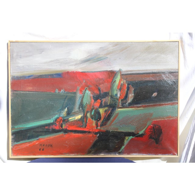 """1950s Belgrade """"Vece"""" Oil Painting by Milun Mitrovic For Sale - Image 5 of 9"""