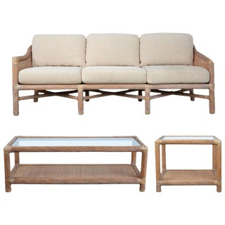 McGuire Rattan Outdoor Patio Set With Sofa, Coffee Table and Side Table - 3 Pc. Set For Sale