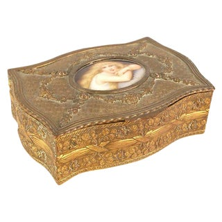 French Bronze Porcelain Box For Sale