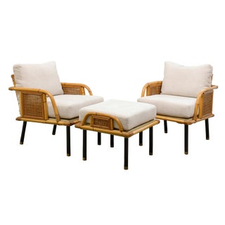 Unique Pair of Modern Rattan and Cane Lounge Chairs by Ficks Reed, Circa 1950 For Sale