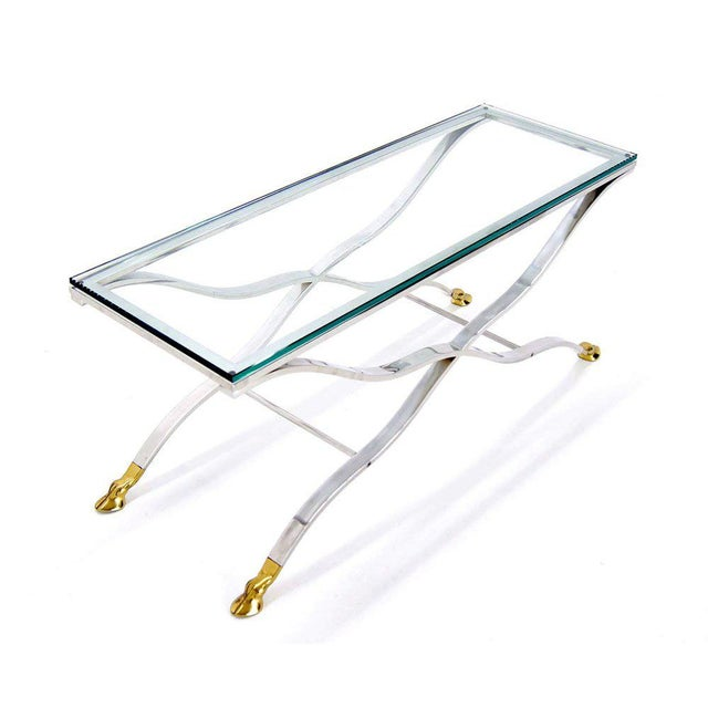 Mid-Century Modern Mid Century Modern Chrome Glass Top Console Table with Brass Hoof-Feet For Sale - Image 3 of 10
