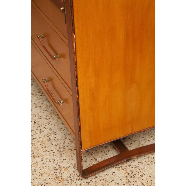 Metal 1950s Large Cherrywood and Leather Cabinet by Jacques Adnet For Sale - Image 7 of 13