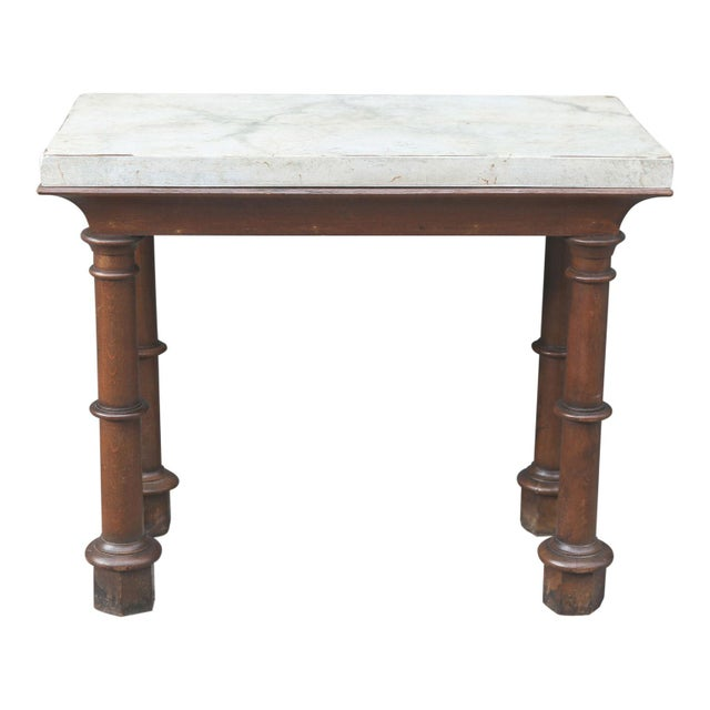 Faux marble top console: an unusual and handsome 19th century console table from England; finished on all four sides...
