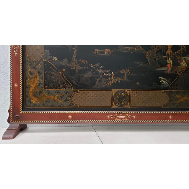 Vintage Chinese Carved & Painted Fire Screen C.1940s For Sale - Image 4 of 11