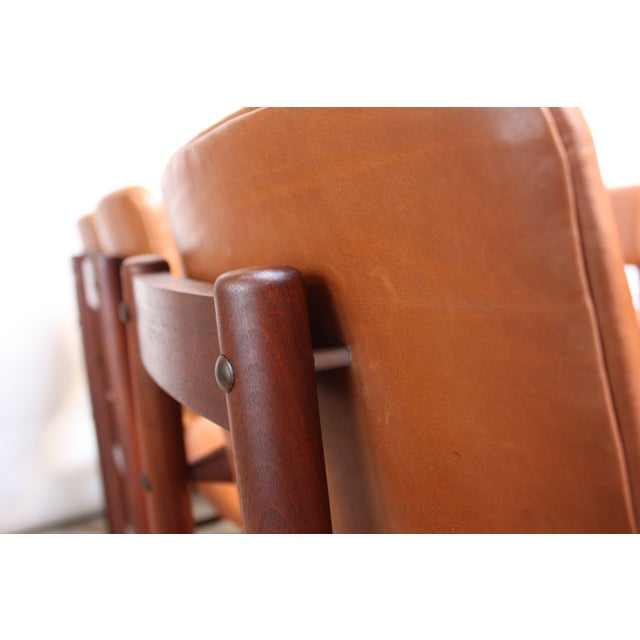 Set of Ten Walnut and Leather Dining Chairs by Greta Grossman For Sale - Image 10 of 13