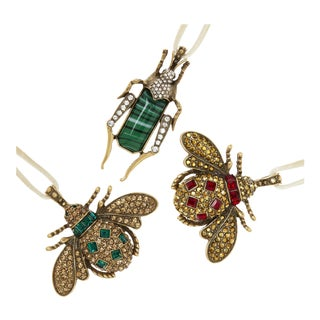 Jeweled Insect Hanging Ornaments, Ruby and Emerald - Set of 3 For Sale