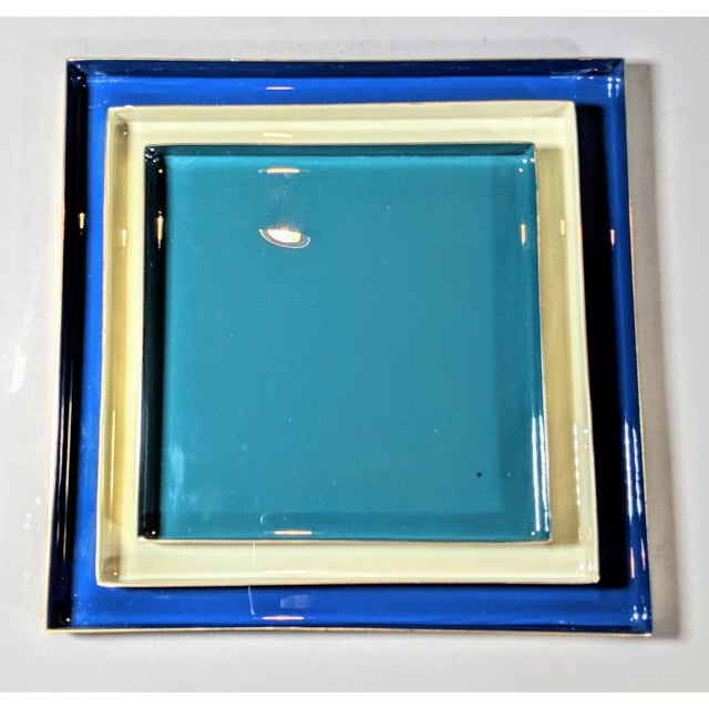 Contemporary Brass and Enamel Blue, Teal & White Trays - Set of 3 For Sale - Image 3 of 13