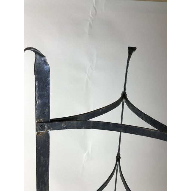 Early 21st Century Antique Black Iron Pot Rack Shelving - a Pair For Sale - Image 5 of 6