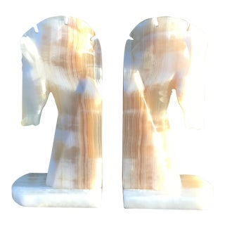 Midcentury Palomino Horse Head Alabaster Bookends - a Pair For Sale