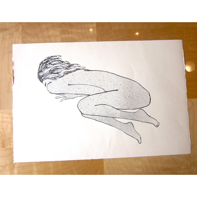 """Paper 1970s Vintage Suzanne Peters """"Sleeping Woman"""" Original Black and White Aquatint Lithograph For Sale - Image 7 of 7"""