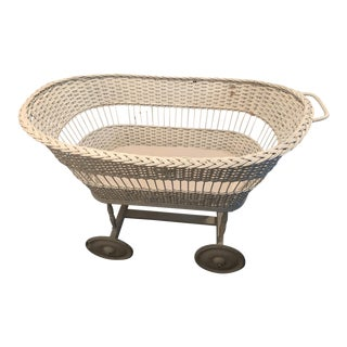 Antique White Wicker Baby Bassinet on Wheels For Sale