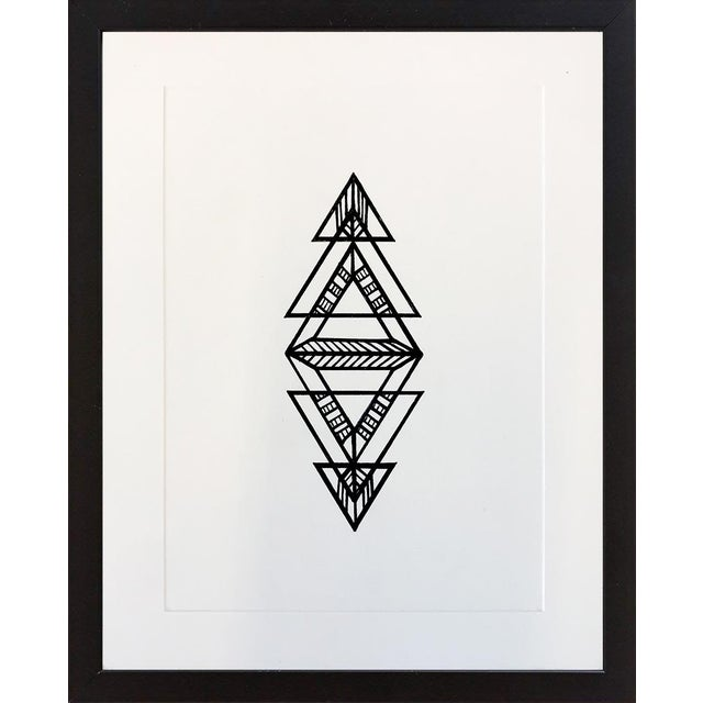 Glass Black Geometric Ink Drawing by Natasha Mistry For Sale - Image 7 of 8