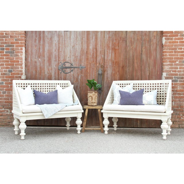 White Pair of Polo Lounge Benches For Sale - Image 8 of 9