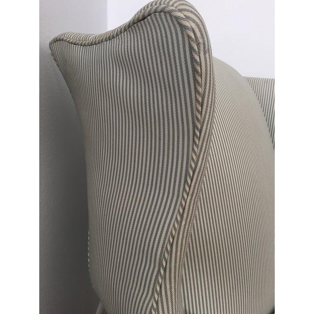 Custom Striped Wing Chair - Image 5 of 9