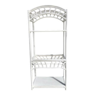 Palm Beach Regency White Rattan Etagere For Sale