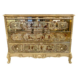 Louis XV Style Eglomise Commode, Maison Jansen Chest, Dresser, Nightstand For Sale