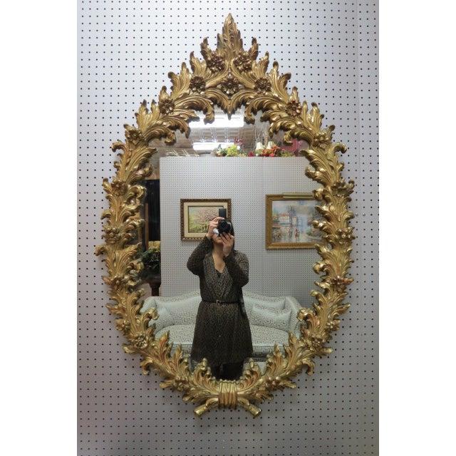1960s 1960 Vintage Hollywood Regency Gilt Oval Mirror For Sale - Image 5 of 5
