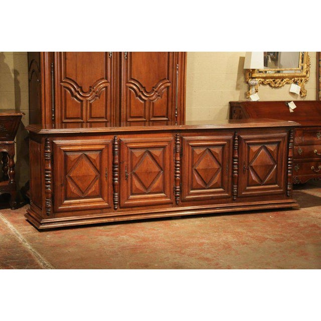 Early 19th Century French Louis XIII Carved Walnut Four-Door Enfilade Buffet For Sale - Image 10 of 13